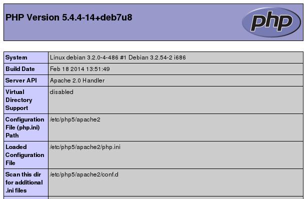 Debian 7 LAMP info.php