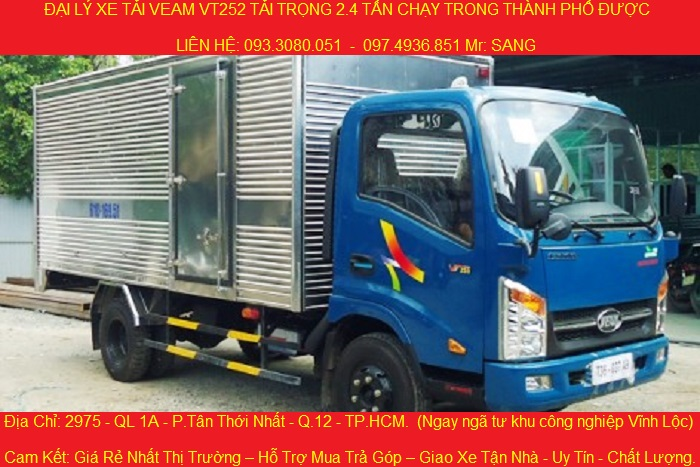 Xe tải 2.4 tấn, động cơ hyundai, xe tải veam vt252 2.4 tấn chạy trong thành phố được.