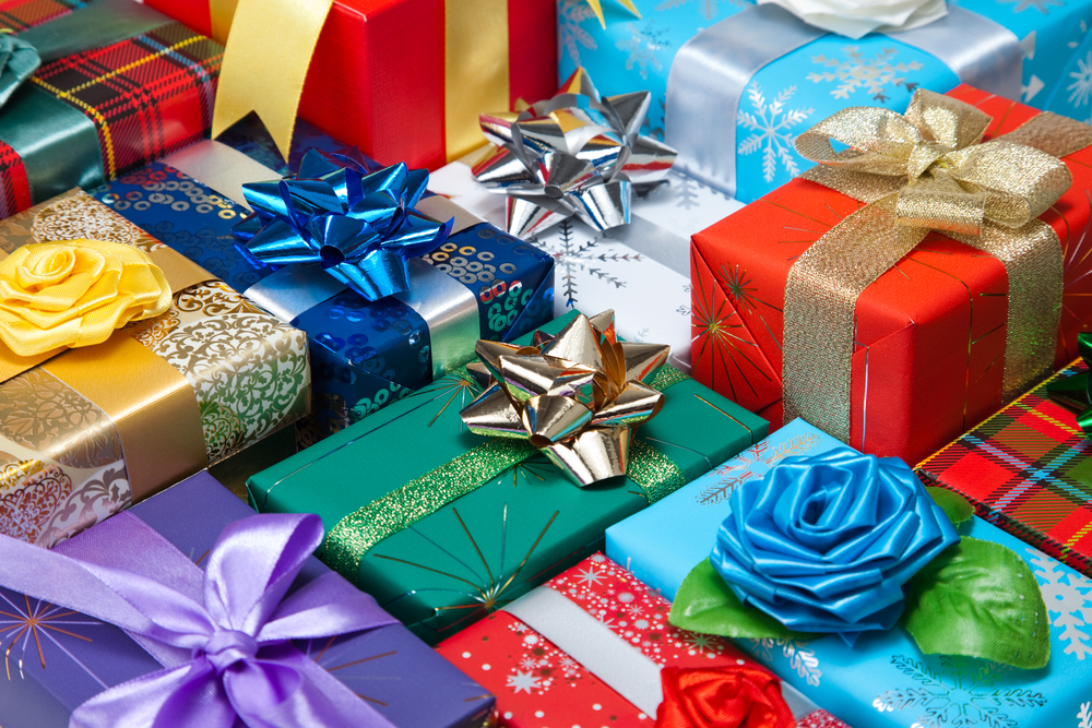 a variety of wrapped gifts