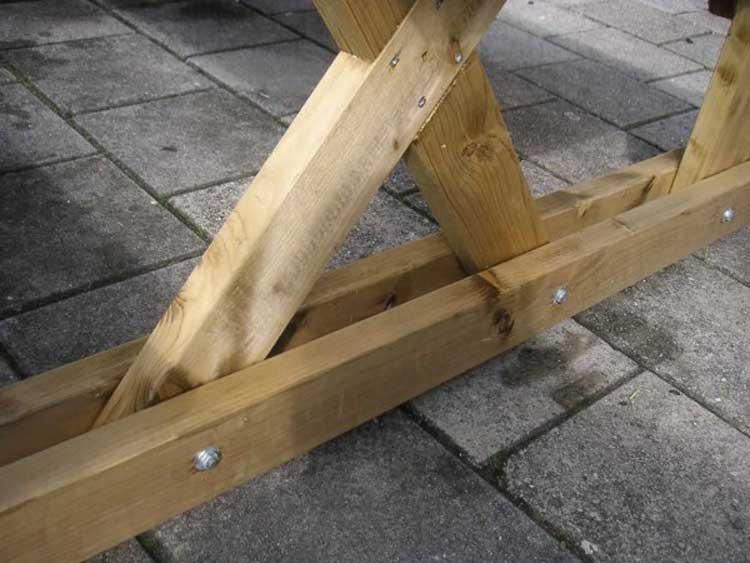 Соединение деталей стола болтами