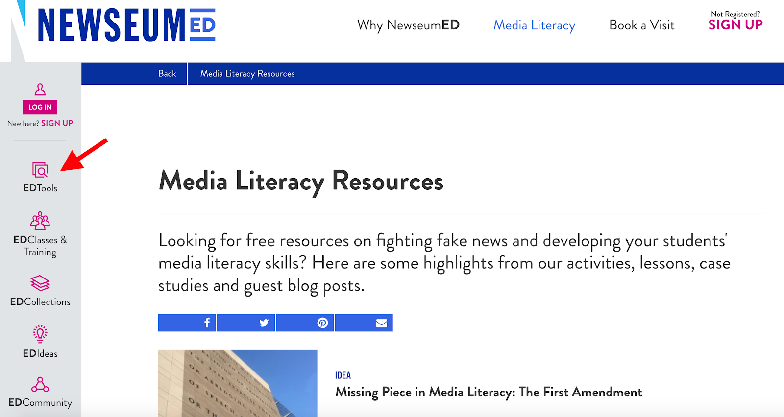 Newseum Ed Media Literacy Resources
