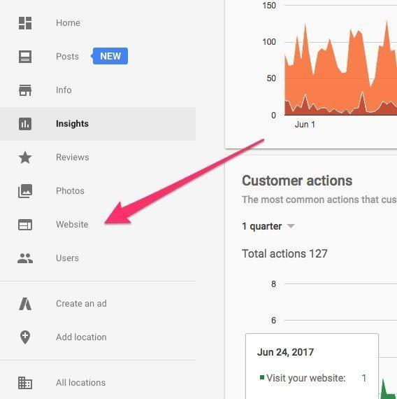 screen capture of GMB page customer actions