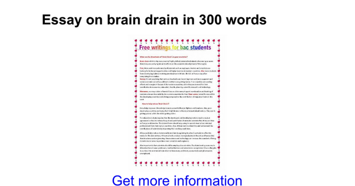 essay on brain drain in words google docs
