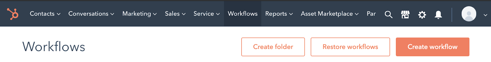 HubSpot workflow section