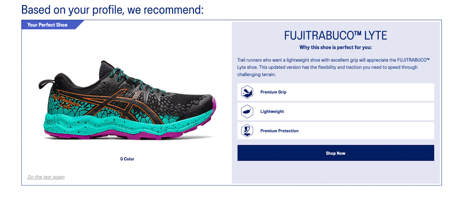 guided selling asics shoe finder result