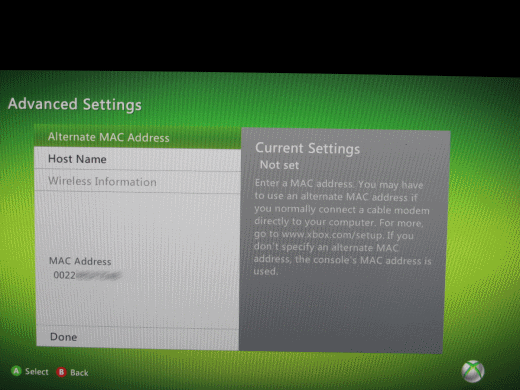 XBox 360 MAC Address Screen