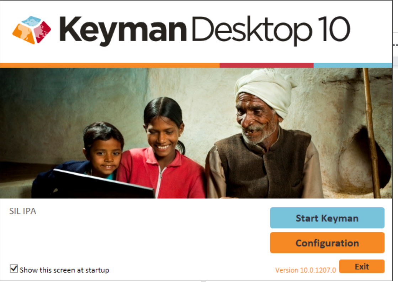 screenshot of the Keyman home screen