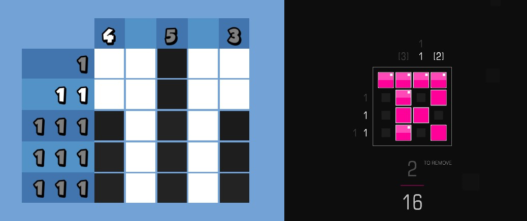 On the left, a grid-based puzzle against a blue background. It is mostly completed, with most of the row/column numbers having turned grey. On the right, a pink grid puzzle against a background, which is also mostly finished, with some row and column numbers turned grey.