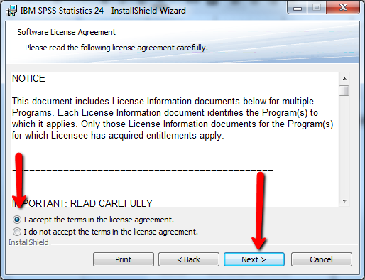 SPSS Install License Agreement