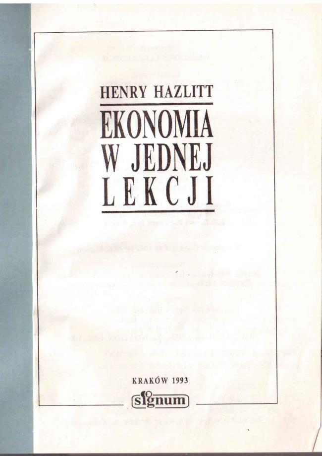 hazlitt ekonomia w jednej lekcji pdf
