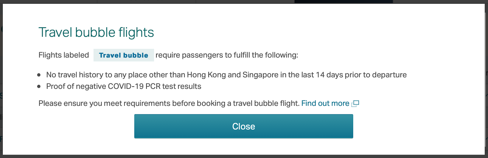 Shot of travel bubble eligibility