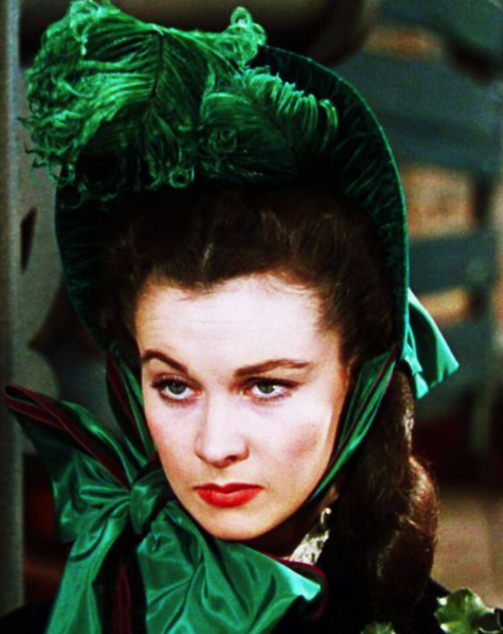 Vivian Leigh plays Scarlett O'Hara in Gone With the Wind
