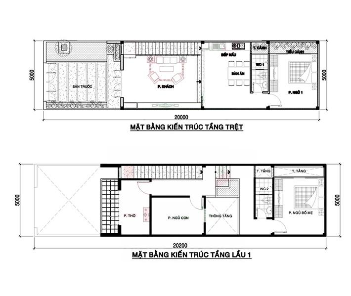 thiết kế nhà 2 tầng 3 phòng ngủ 1 phòng thờ