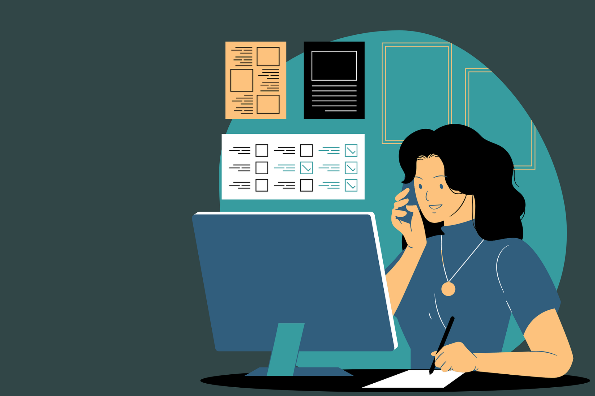 A virtual assistant answering a business phone call