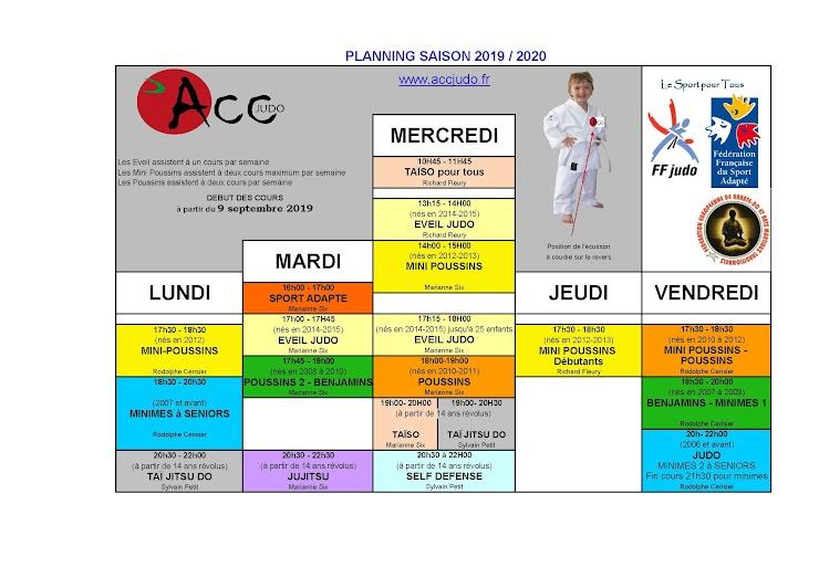 (Maximum 2 cours par semaine pour le judo (sauf pour les éveils) - les choix ne sont ni définitifs, ni bloqués. Attention les cours d'éveils sont restreints à 25 pratiquants)