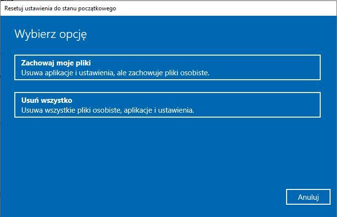 Resetuj ustawienia do stanu początkowego Windows 10