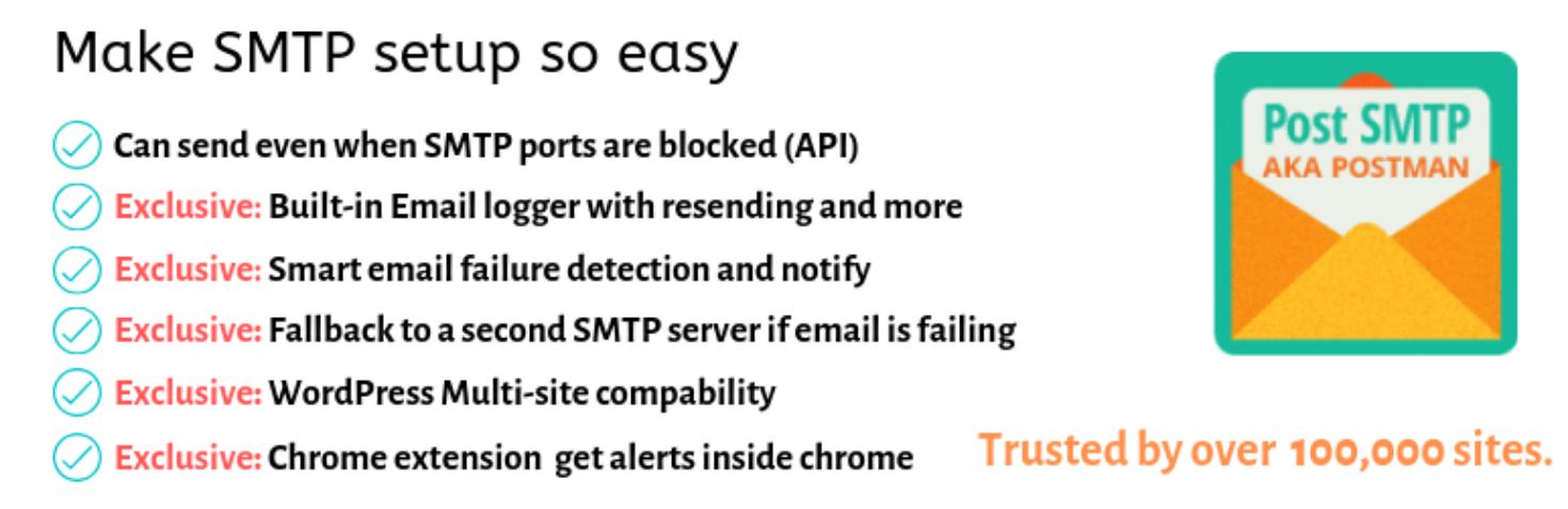Post SMTP Mailer plugin header