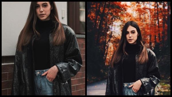 Antes e depois da edição das fotos