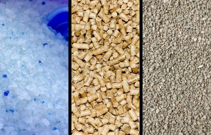 three different cat litter types side by side