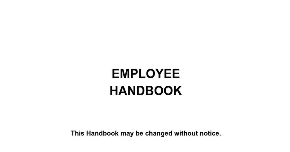 Employee Handbook Google Docs - Massachusetts employee handbook template