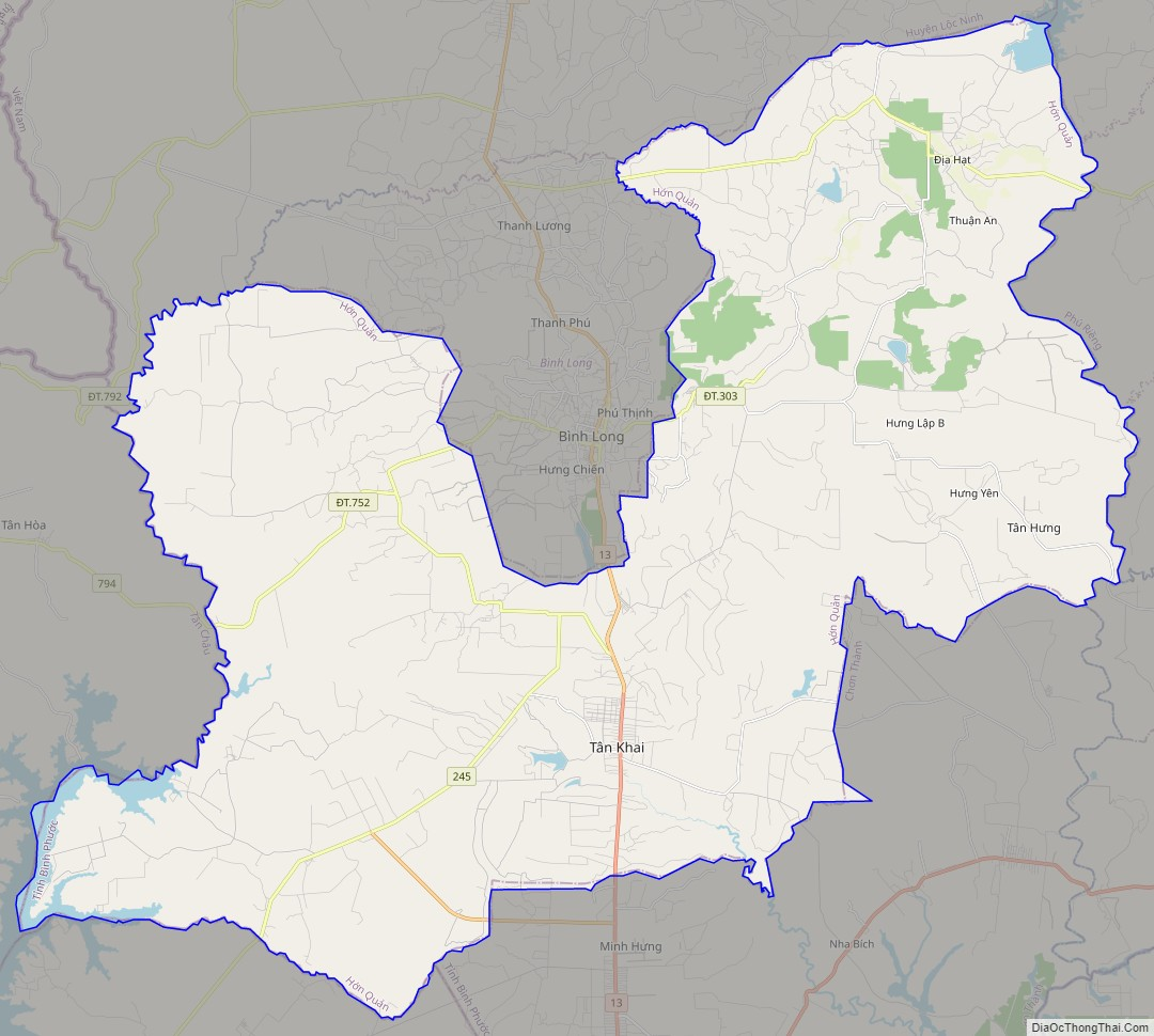 Bản đồ giao thông huyện Hớn Quản