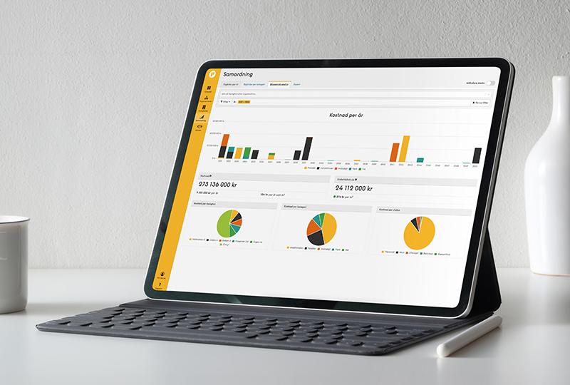 Tablet-dator på bord med Planima på skärmen.