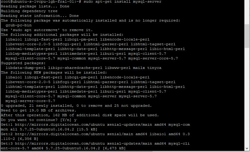 Install MySQL in the digital ocean or ubuntu