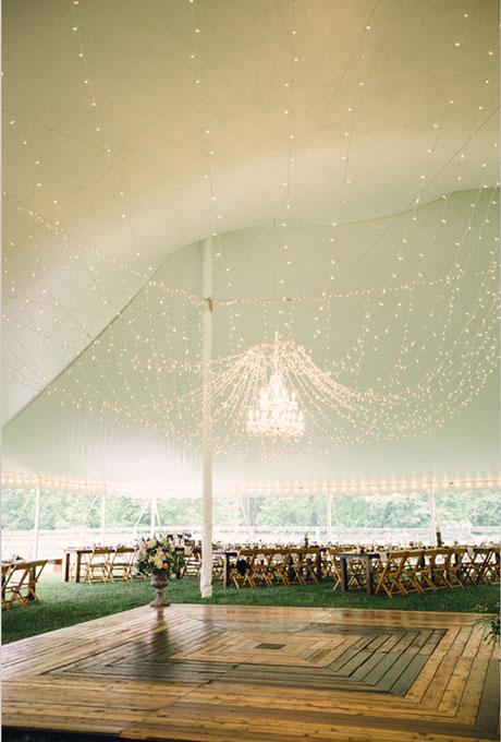 Beautiful Wedding Tent Ideas: Draped String Lights