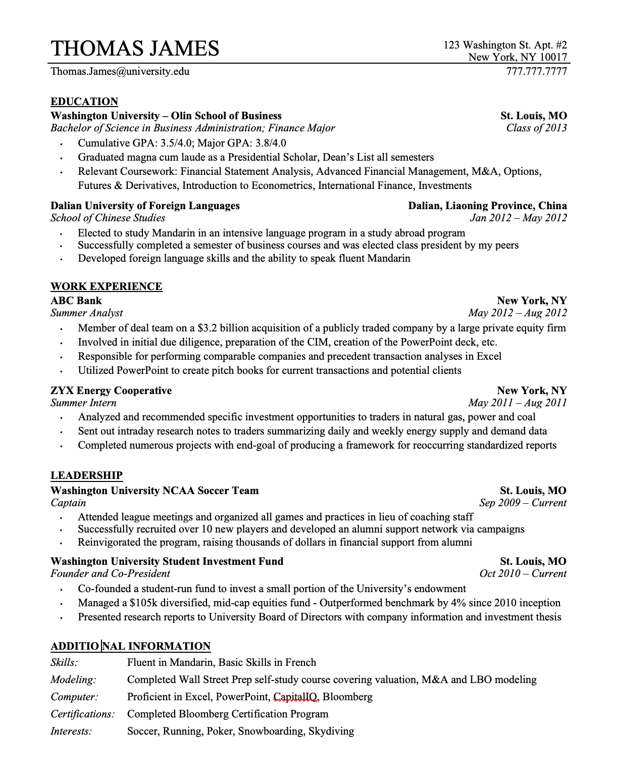 Traditional CV Example from wallstreetoasis.com