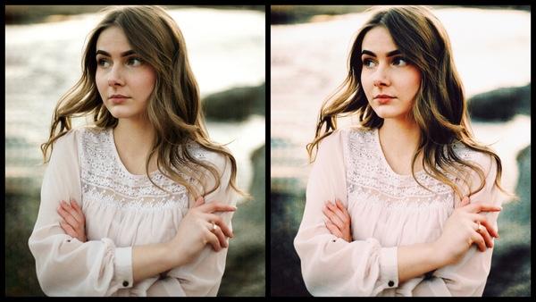 antes e depois da foto de uma mulher morena sendo que uma das fotos está sendo utilizado o filtro Vivid do AirBrush