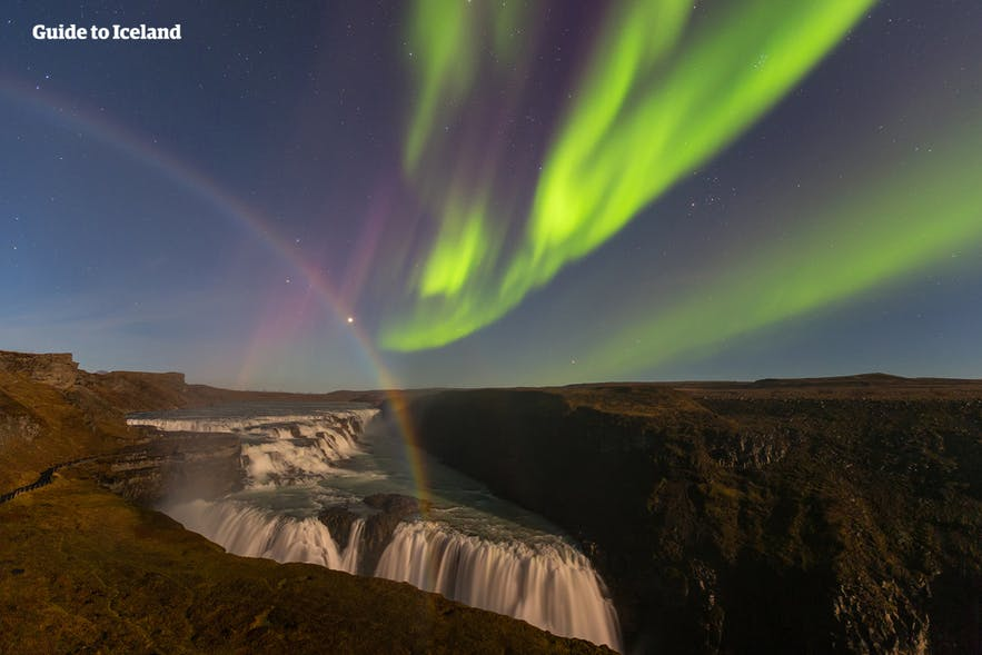 Northern Lights and rainbow over Gullfoss, Iceland