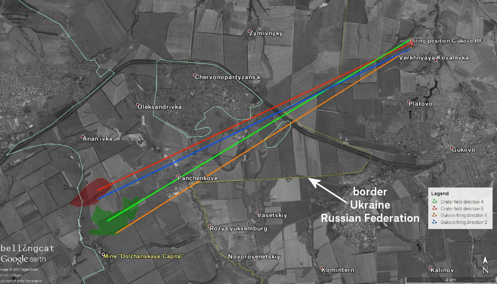 Trajectories from the firing position north of Platovo to the target area around the Dolzhanskaya-Capital mine