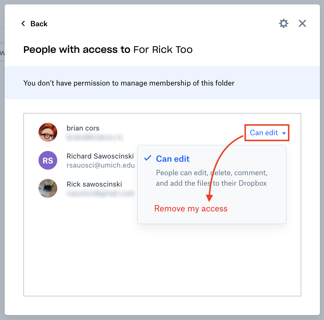 The list of people who have access to the file. Three are listed, and one has been clicked so the drop-down menu appears. There are two options: Can edit and Remove my access. Remove my access is highlighted in red with an arrow pointing toward it.