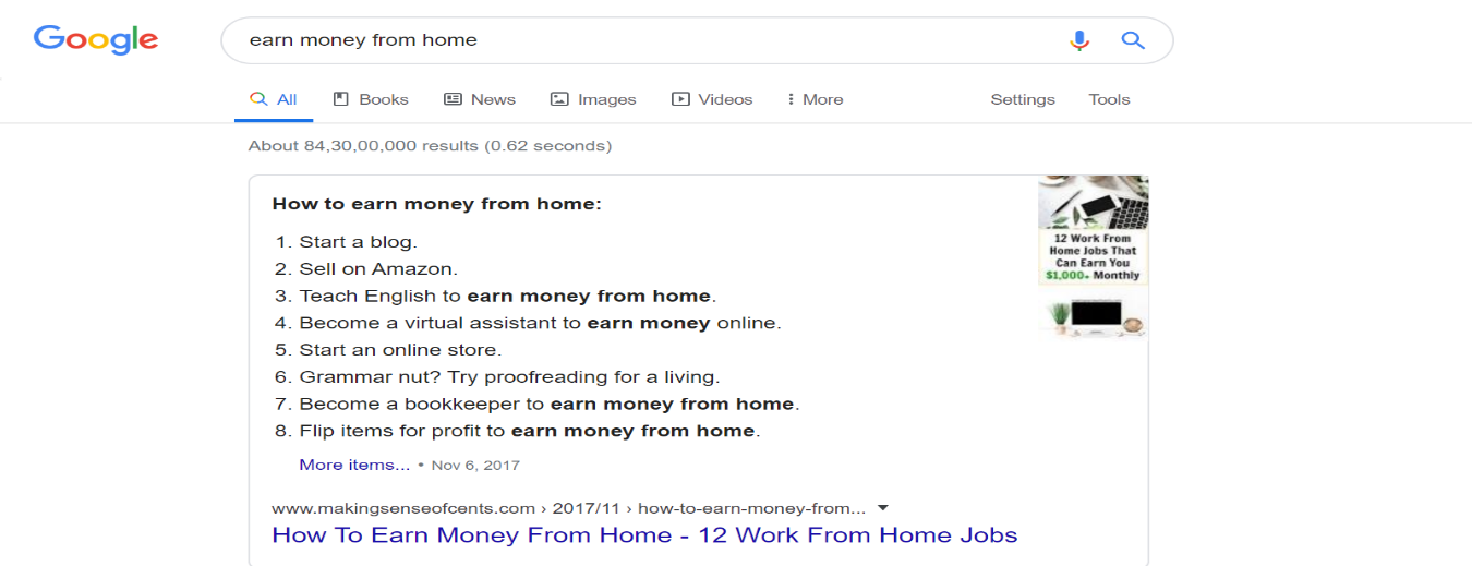 earn money from home google search result- content raj - anoop yersong