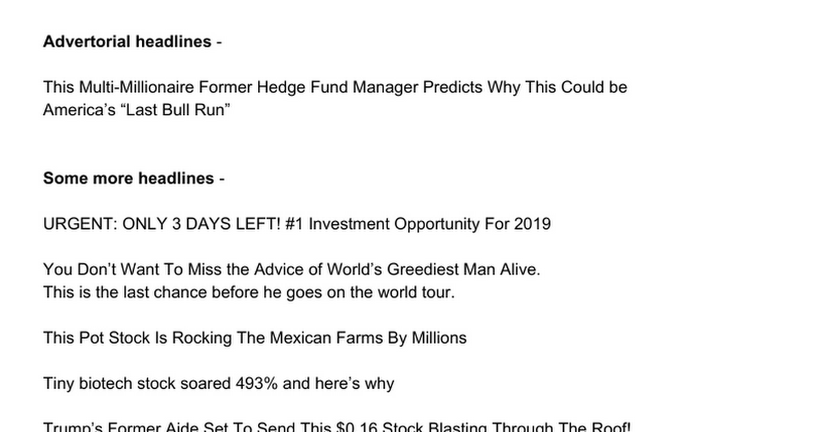 Financial Copywriting - Headlines & Space Ads