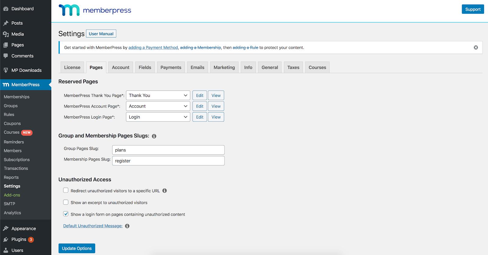 unauthorized access settings