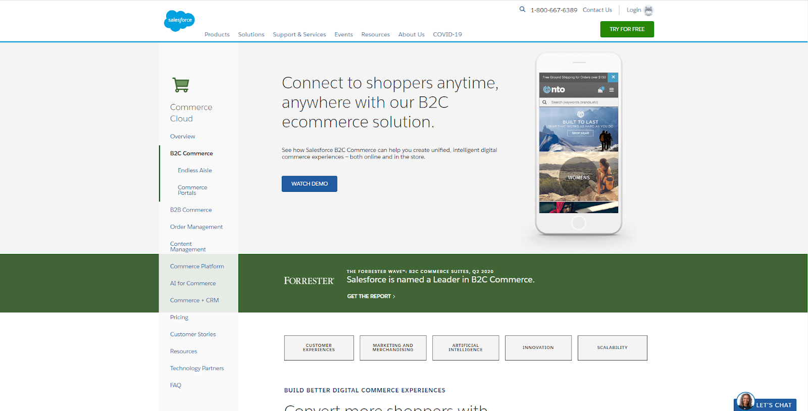 screenshot of SalesForce Commerce Cloud homepage