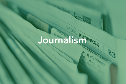 """An image of stacked newspapers. Bold text is placed over the image. It reads: """"Journalism""""."""