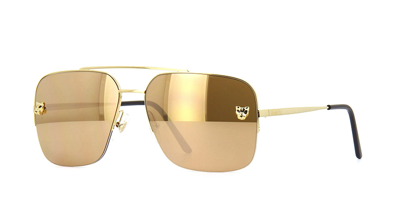 Cartier Panthere CT0244S 005 Brown with Gold Mirror Sunglasses | Pretavoir