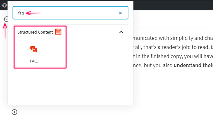 Frequently asked questions added by Plugin in Block Editor