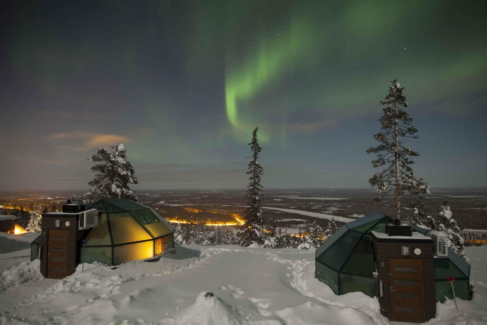 top private jet destination levin iglut golden crown glass igloos with northern lights