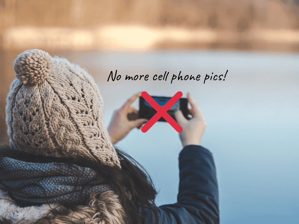 No more cell phone pictures. Woman taking photo with smartphone