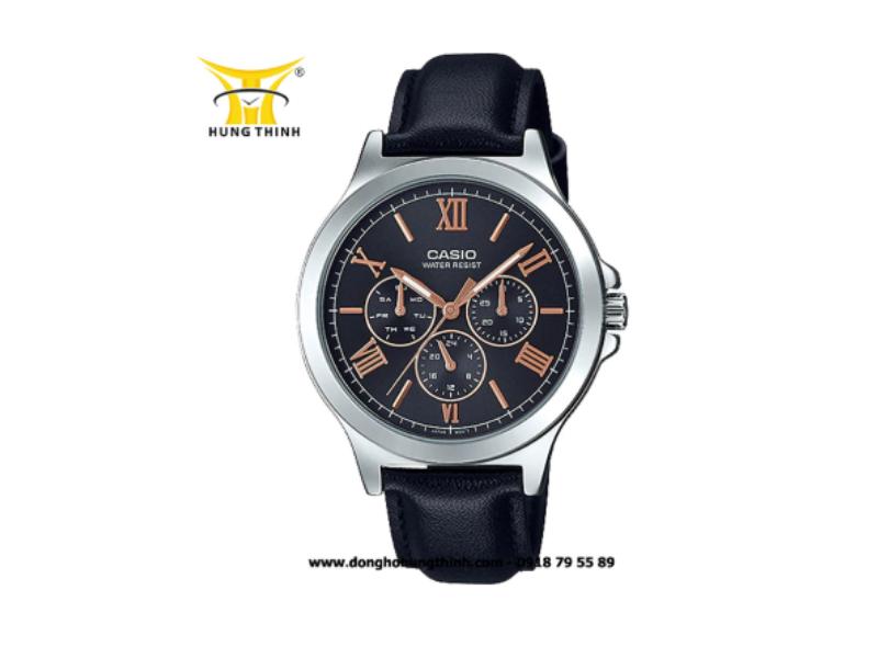 Cũng là mẫu đồng hồ dây da nhưng với màu sắc khác: màu đen- hiện đại hơn và đơn giản hơn đến từ thương hiệu nổi tiếng CASIO (Chi tiết sản phẩm tại đây)