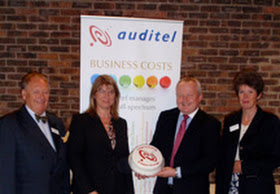 Ruth & Laurence Fitch with Auditel head office team members