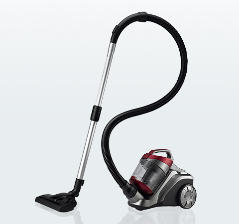 The canister component of a canister vacuum is connected to the head by a hose