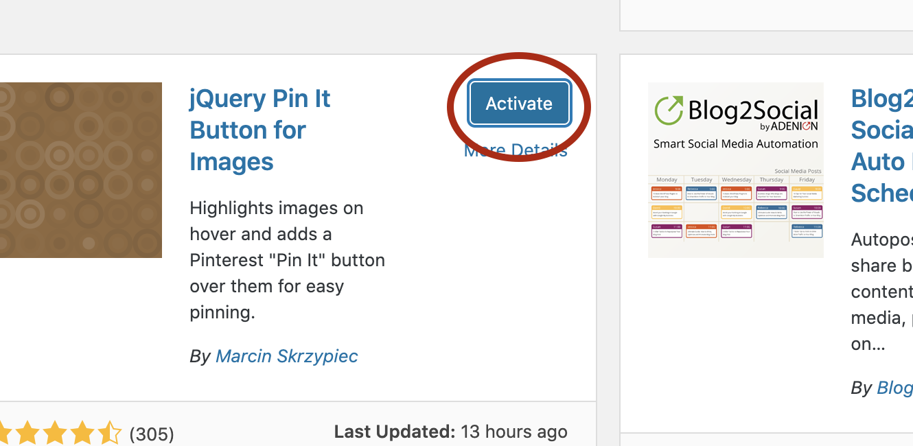 Screenshot of the active button