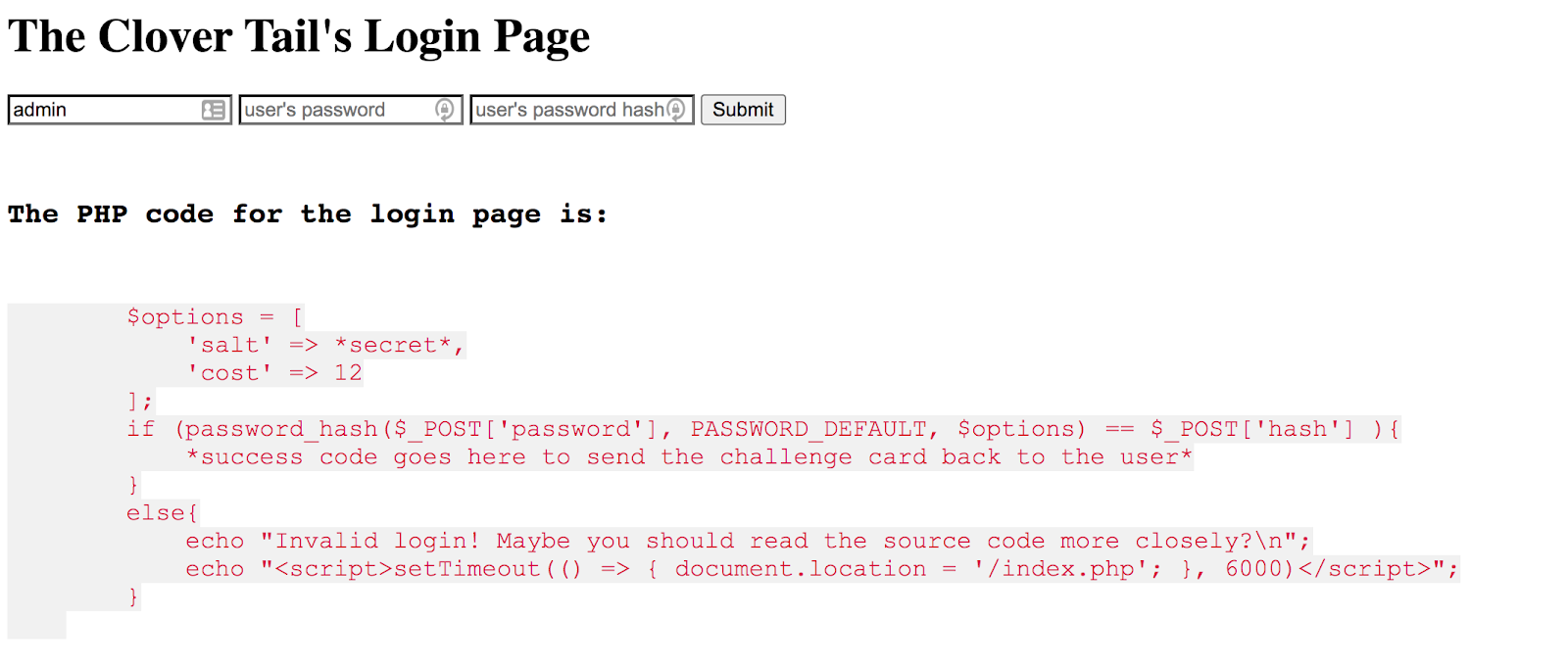 Screenshot of The Clover Tail's Login Page with a log in and PHP code.