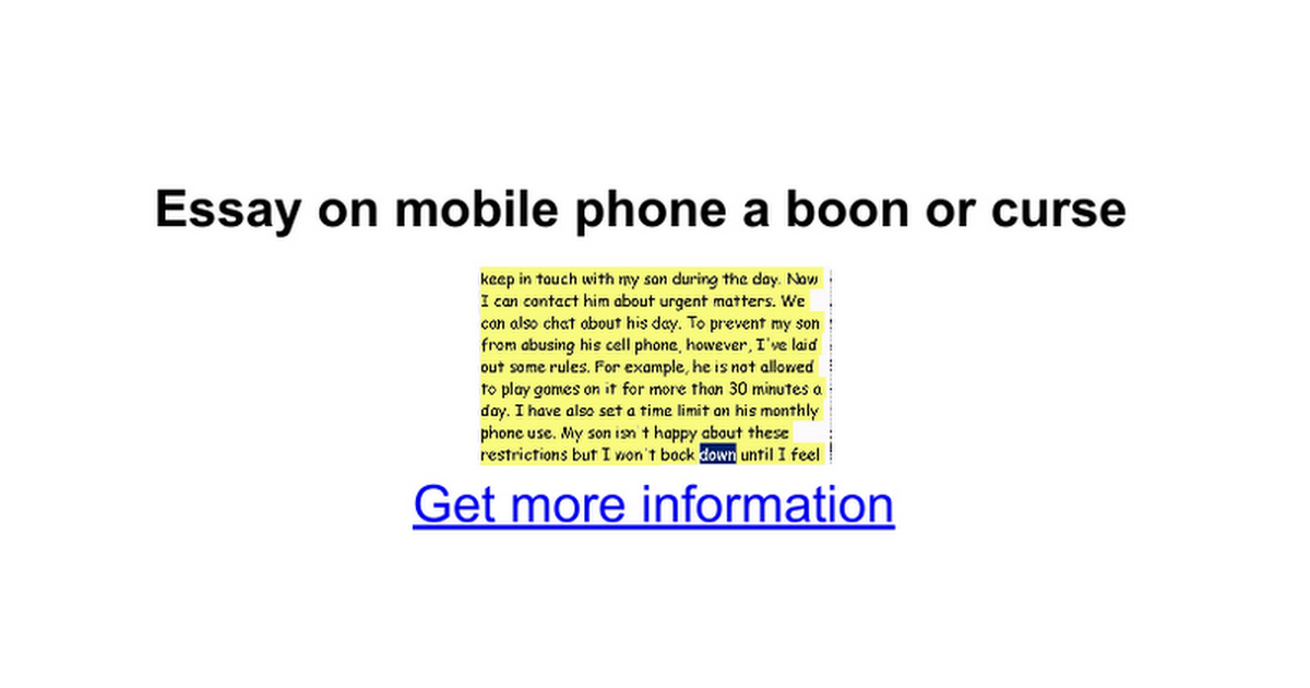 Mobile phone essay
