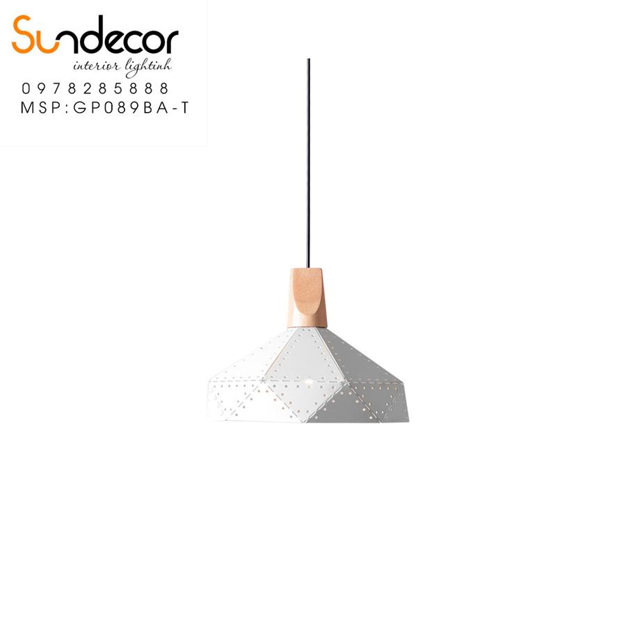 Đèn Thả Kim Cương Đui Gỗ Trắng GP089BA-T