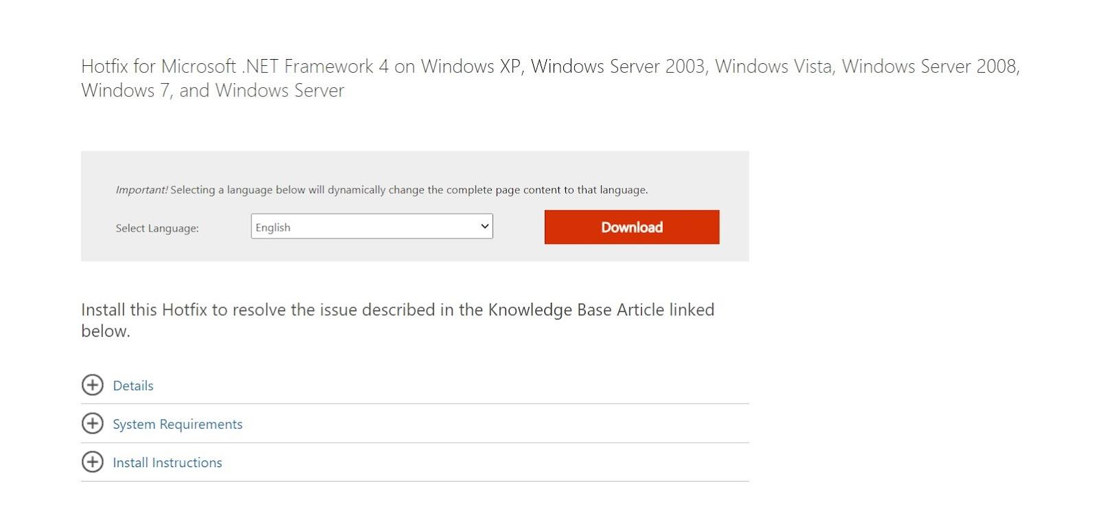 Microsoft Hotfix download webpage